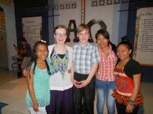 Hannah & Micah with Local Youth After Presentation