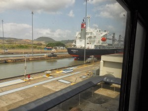 Ship in Miraflores Locks of Panama Canal